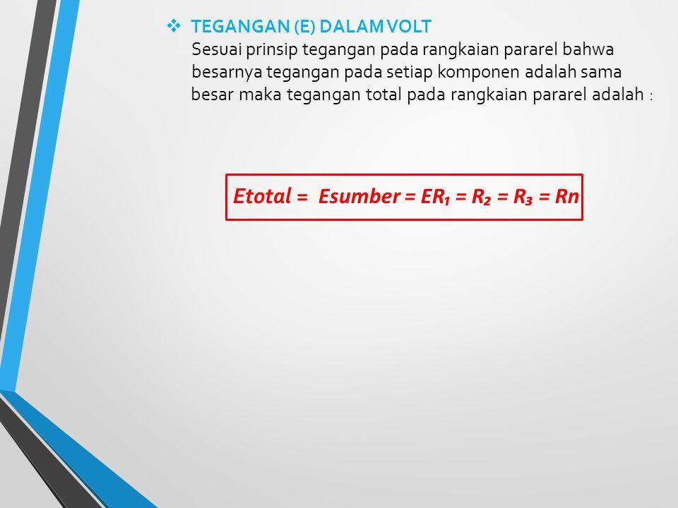 Etotal = Esumber = ER₁ = R₂ = R₃ = Rn