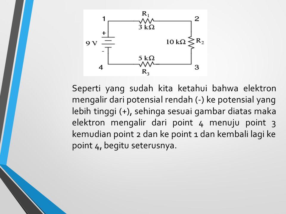 Seperti yang sudah kita ketahui bahwa elektron mengalir dari potensial rendah (-) ke potensial yang lebih tinggi (+), sehinga sesuai gambar diatas maka elektron mengalir dari point 4 menuju point 3 kemudian point 2 dan ke point 1 dan kembali lagi ke point 4, begitu seterusnya.
