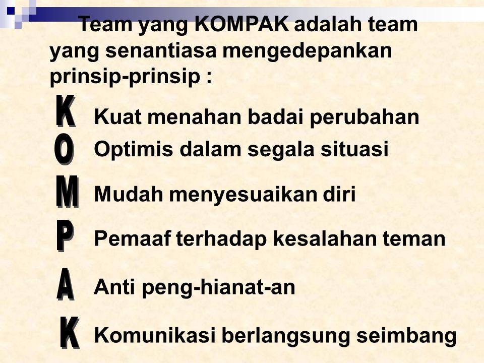 Team yang KOMPAK adalah team yang senantiasa mengedepankan prinsip-prinsip :