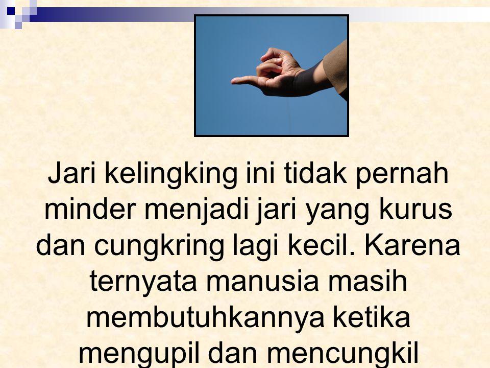 Jari kelingking ini tidak pernah minder menjadi jari yang kurus dan cungkring lagi kecil.