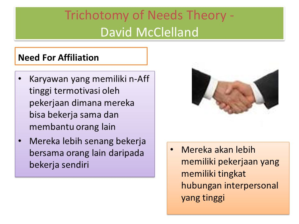 Trichotomy of Needs Theory - David McClelland