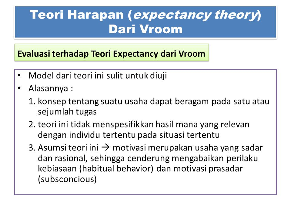 Teori Harapan (expectancy theory) Dari Vroom