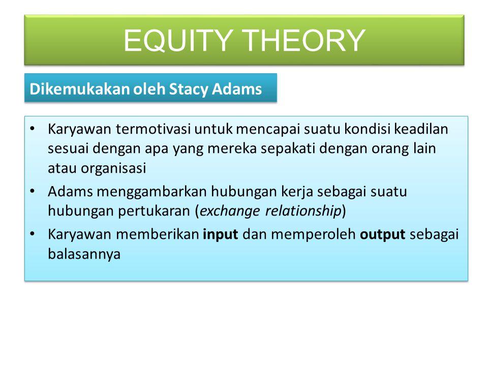 EQUITY THEORY Dikemukakan oleh Stacy Adams