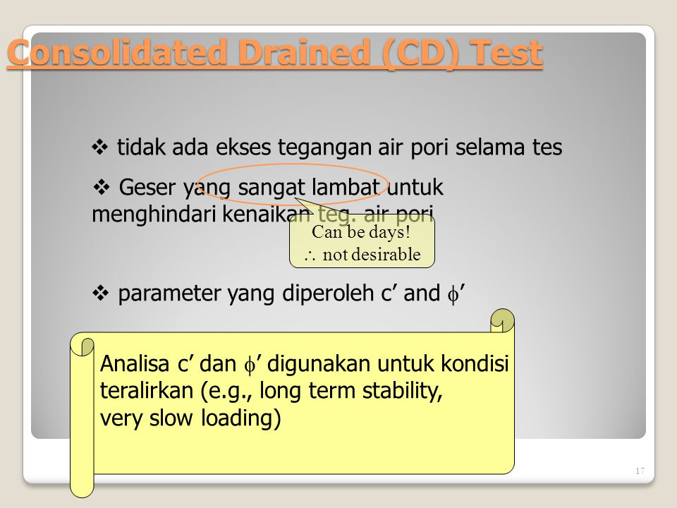 Consolidated Drained (CD) Test