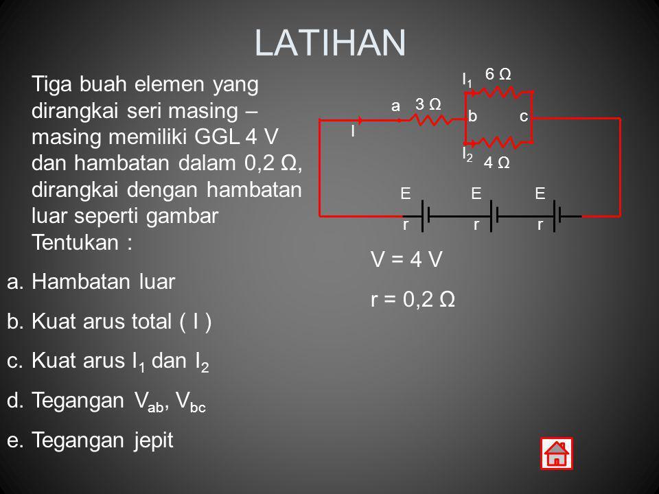 LATIHAN Hambatan luar Kuat arus total ( I ) Kuat arus I1 dan I2