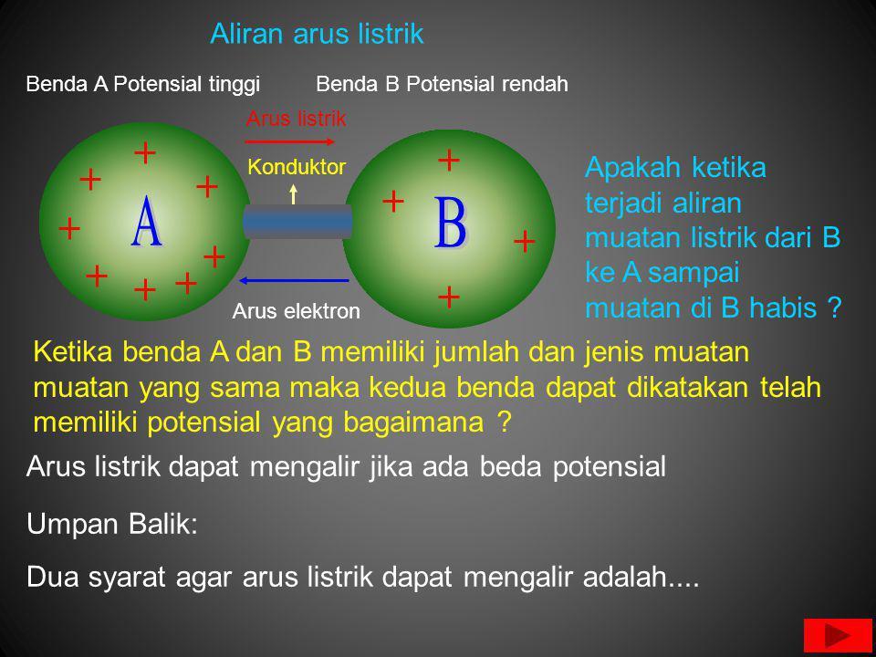 Aliran arus listrik Benda A Potensial tinggi. Benda B Potensial rendah. Arus listrik. Konduktor.