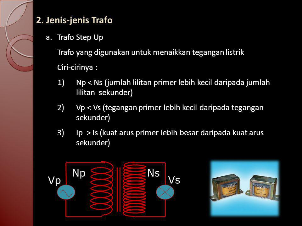 2. Jenis-jenis Trafo Np Ns Vp Vs a. Trafo Step Up