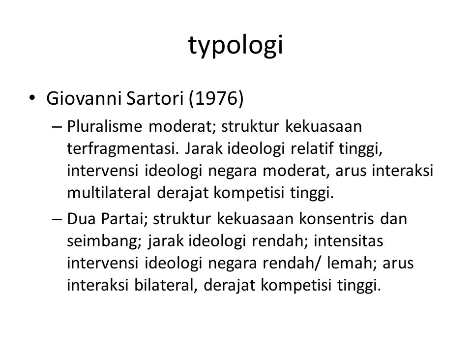 typologi Giovanni Sartori (1976)