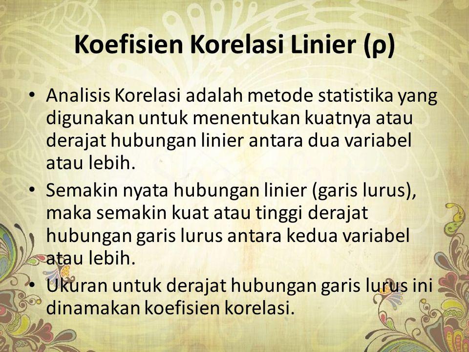 Koefisien Korelasi Linier (ρ)