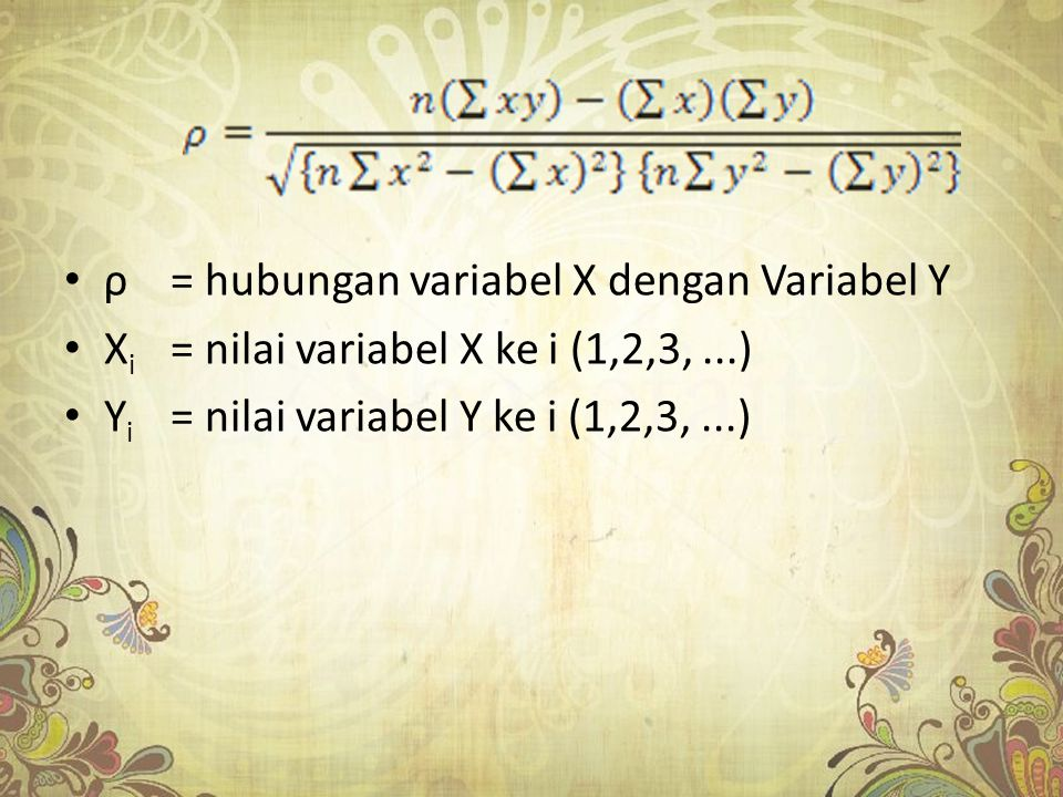ρ = hubungan variabel X dengan Variabel Y