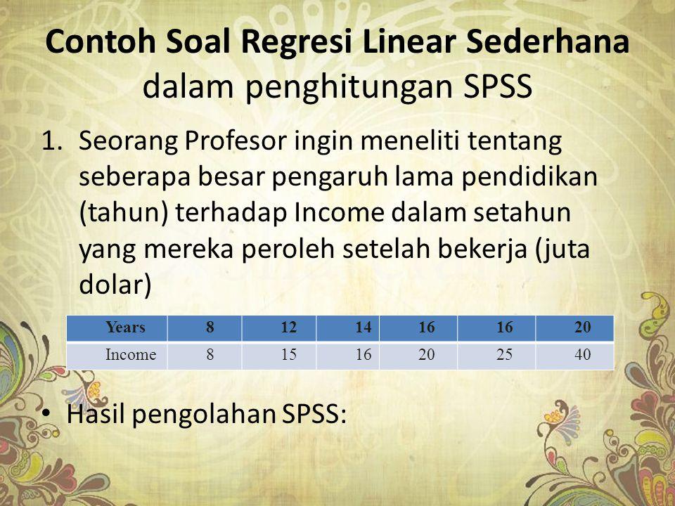Contoh Soal Regresi Linear Sederhana dalam penghitungan SPSS
