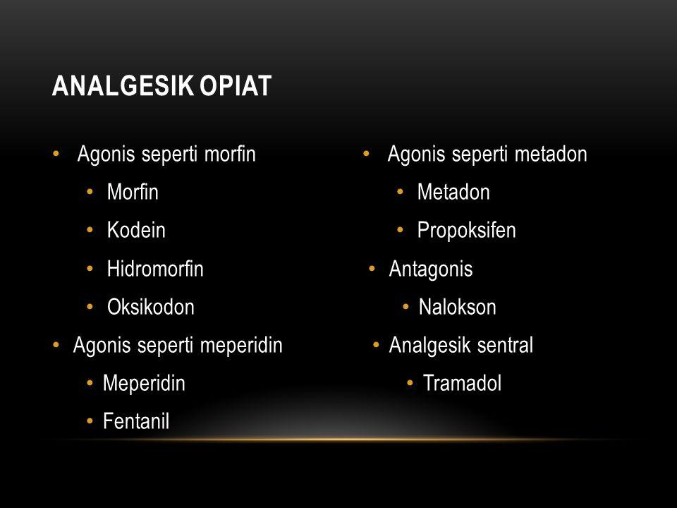 ANALGESIK OPIAT Agonis seperti morfin Morfin Kodein Hidromorfin