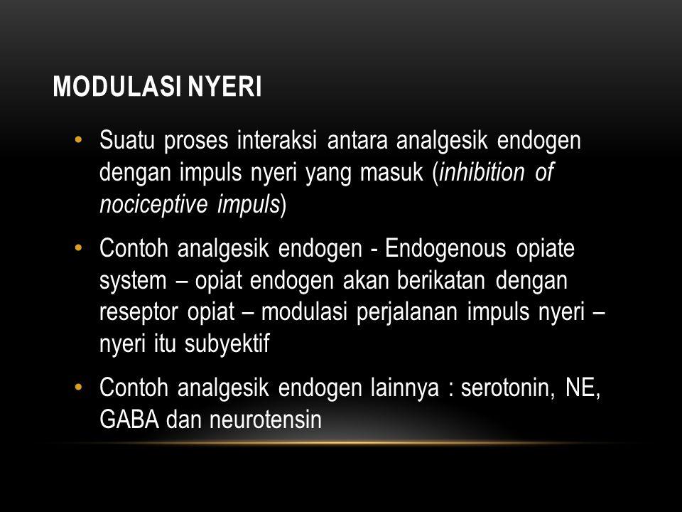 Modulasi nyeri Suatu proses interaksi antara analgesik endogen dengan impuls nyeri yang masuk (inhibition of nociceptive impuls)