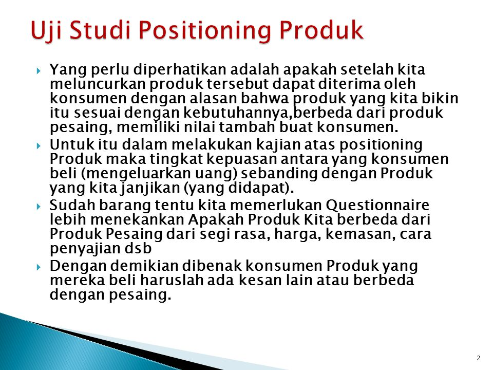 Uji Studi Positioning Produk