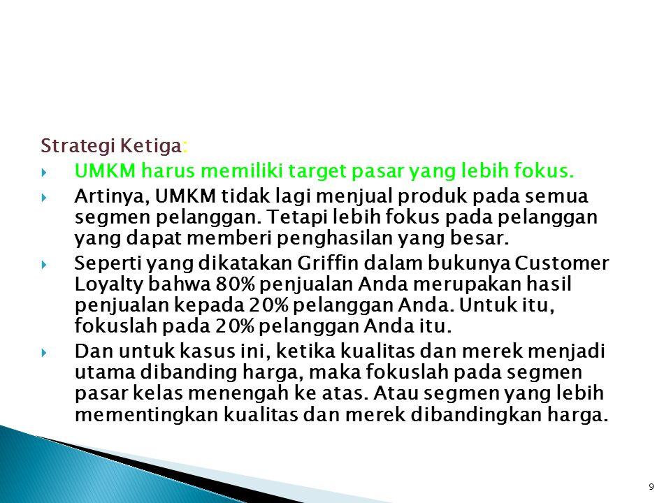 Strategi Ketiga: UMKM harus memiliki target pasar yang lebih fokus.