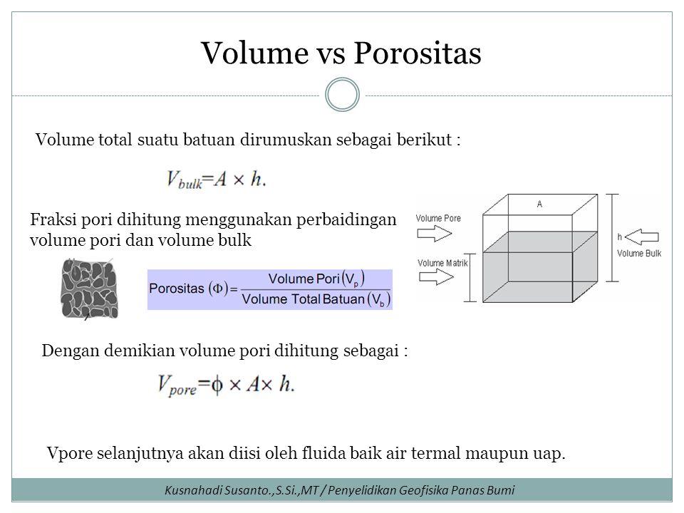 Volume vs Porositas Volume total suatu batuan dirumuskan sebagai berikut : Fraksi pori dihitung menggunakan perbaidingan volume pori dan volume bulk.