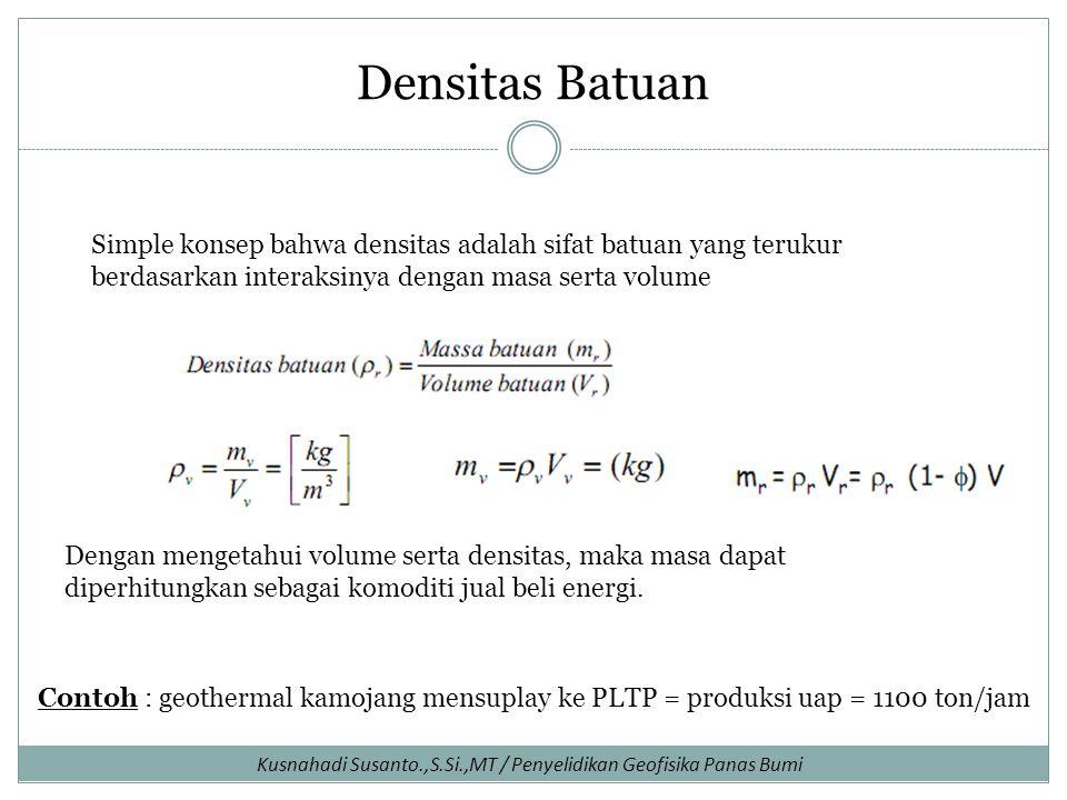 Densitas Batuan Simple konsep bahwa densitas adalah sifat batuan yang terukur berdasarkan interaksinya dengan masa serta volume.