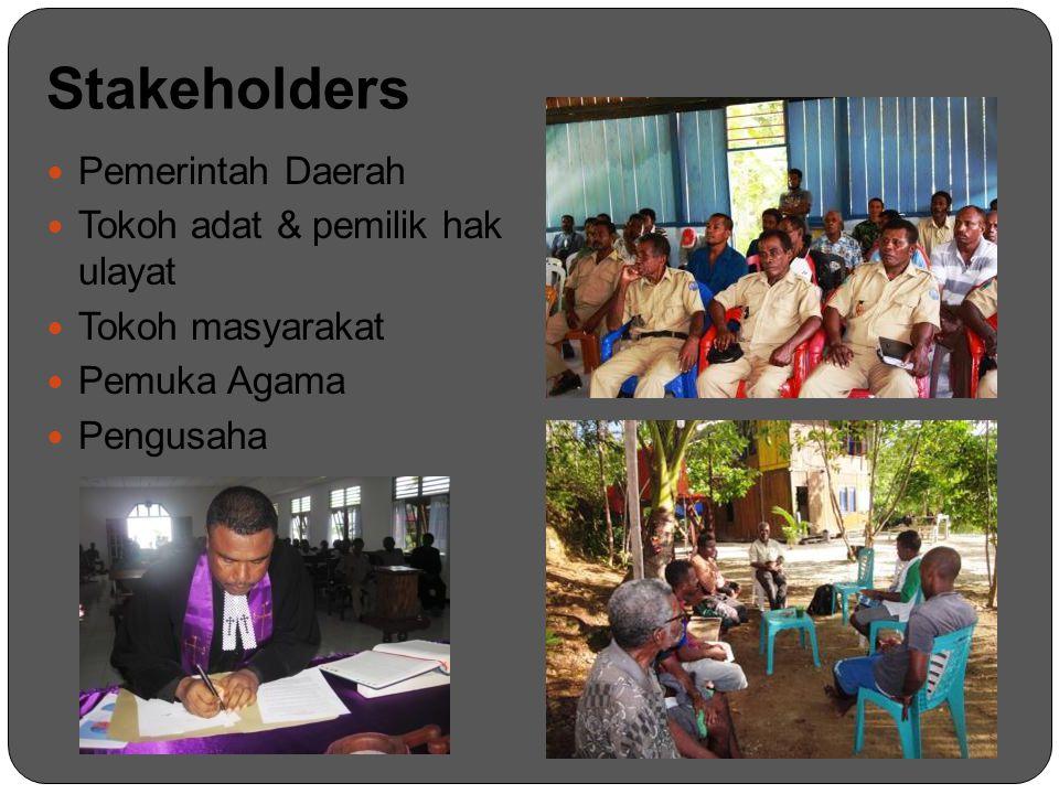 Stakeholders Pemerintah Daerah Tokoh adat & pemilik hak ulayat
