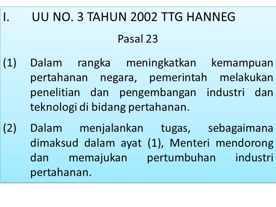 I. UU NO. 3 TAHUN 2002 TTG HANNEG Pasal 23