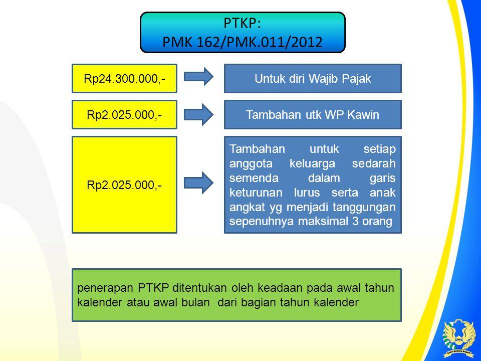 PTKP: PMK 162/PMK.011/2012 Rp24.300.000,- Untuk diri Wajib Pajak