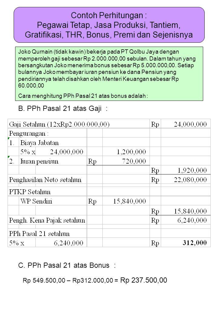 Contoh Perhitungan : Pegawai Tetap, Jasa Produksi, Tantiem, Gratifikasi, THR, Bonus, Premi dan Sejenisnya