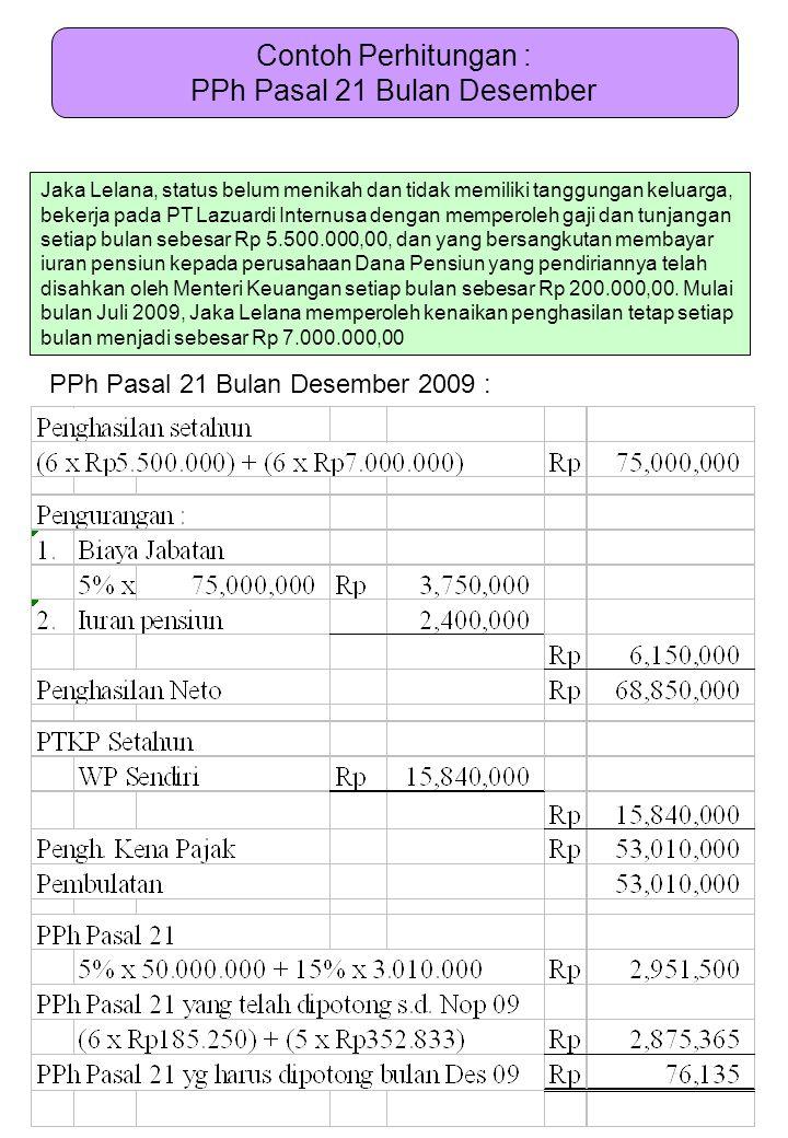 Contoh Perhitungan : PPh Pasal 21 Bulan Desember