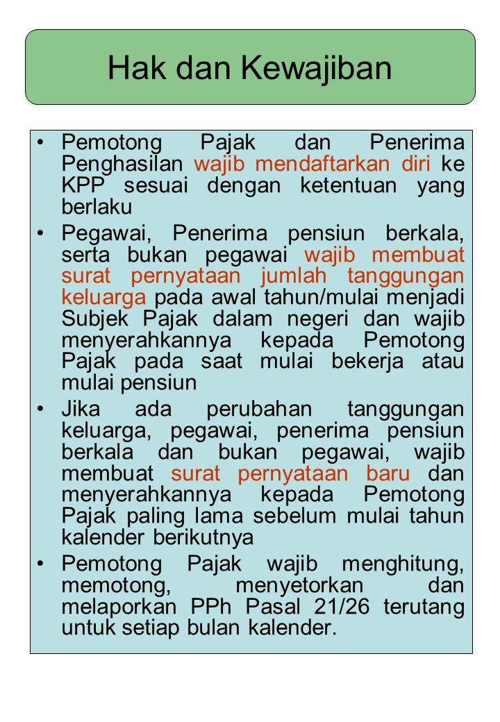 Hak dan Kewajiban Pemotong Pajak dan Penerima Penghasilan wajib mendaftarkan diri ke KPP sesuai dengan ketentuan yang berlaku.