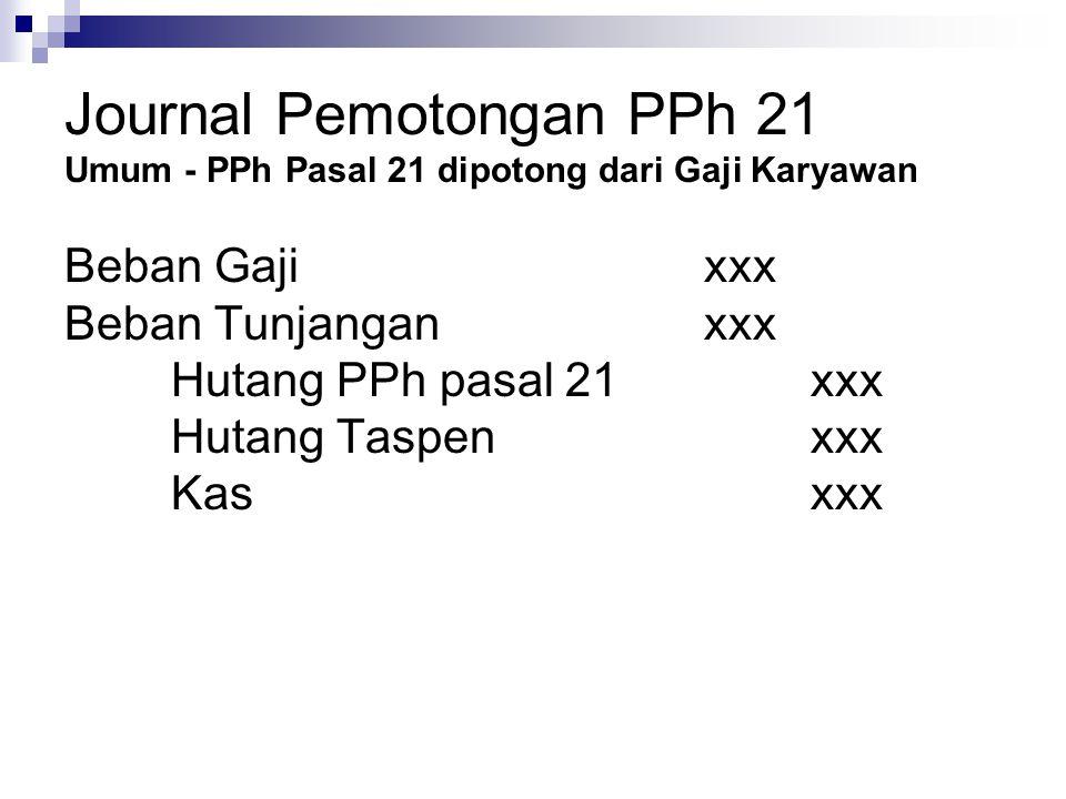 Journal Pemotongan PPh 21 Umum - PPh Pasal 21 dipotong dari Gaji Karyawan