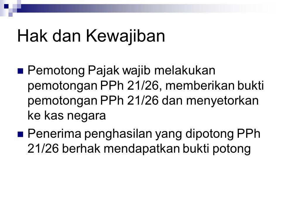 Hak dan Kewajiban Pemotong Pajak wajib melakukan pemotongan PPh 21/26, memberikan bukti pemotongan PPh 21/26 dan menyetorkan ke kas negara.