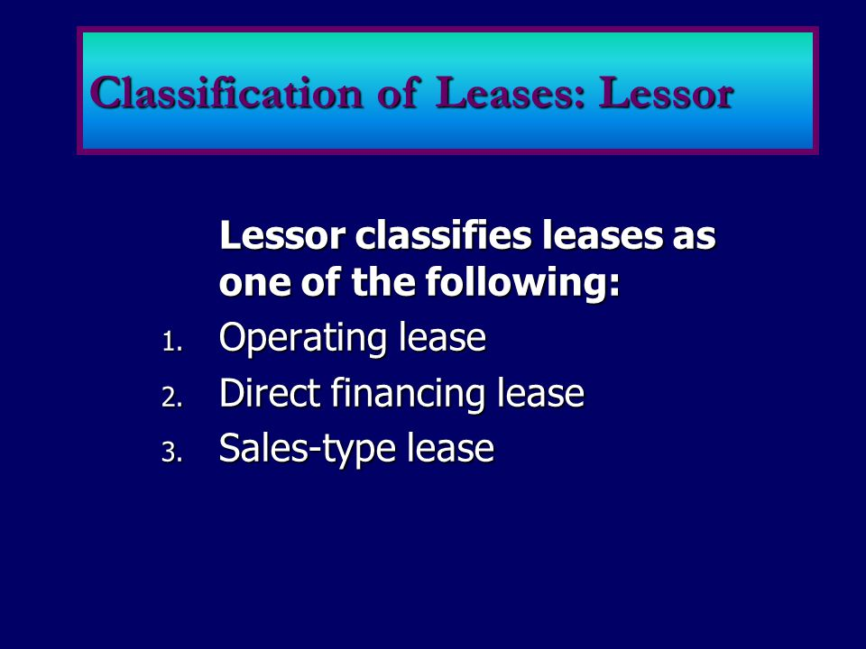 Classification of Leases: Lessor