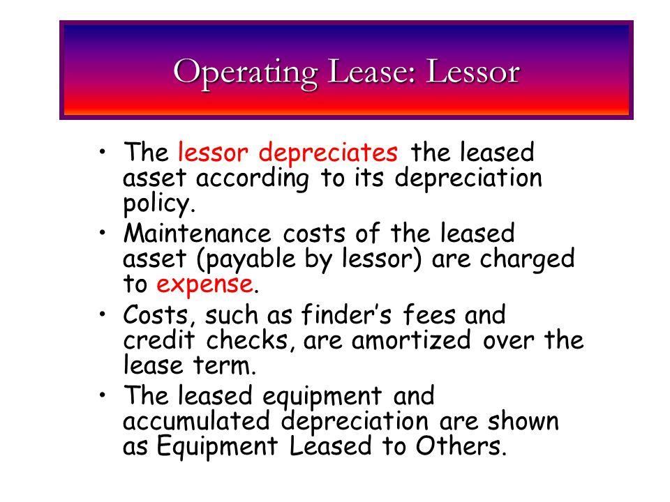 Operating Lease: Lessor