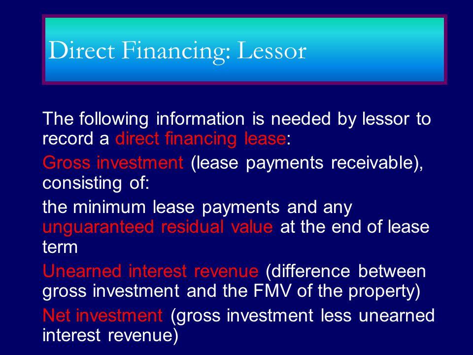 Direct Financing: Lessor