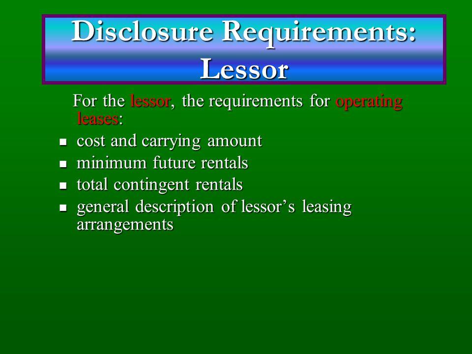 Disclosure Requirements: Lessor