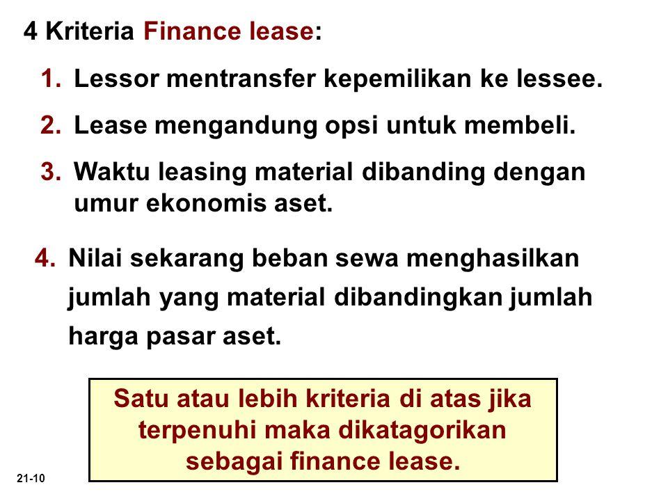 4 Kriteria Finance lease: