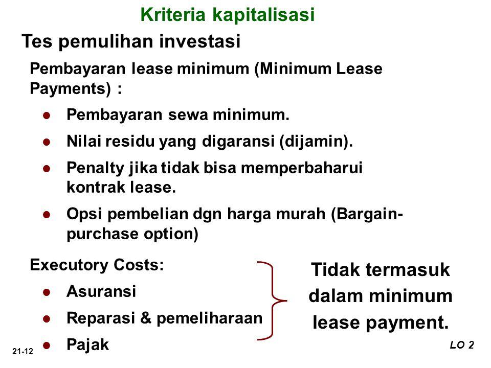 Kriteria kapitalisasi Tidak termasuk dalam minimum lease payment.