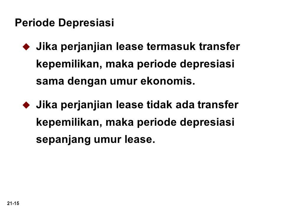 Periode Depresiasi Jika perjanjian lease termasuk transfer kepemilikan, maka periode depresiasi sama dengan umur ekonomis.