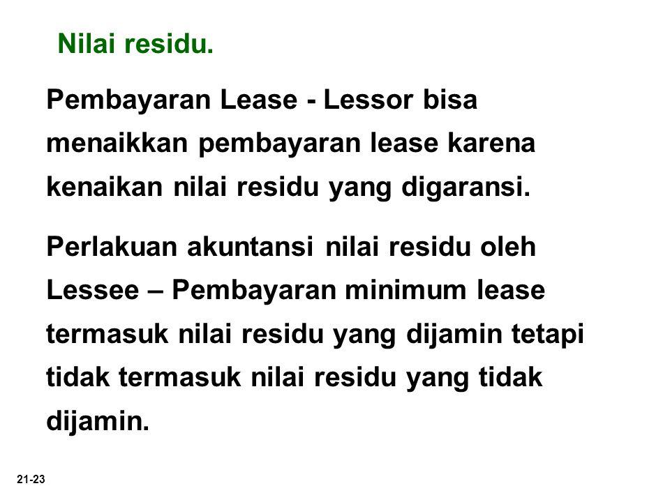 Nilai residu. Pembayaran Lease - Lessor bisa menaikkan pembayaran lease karena kenaikan nilai residu yang digaransi.