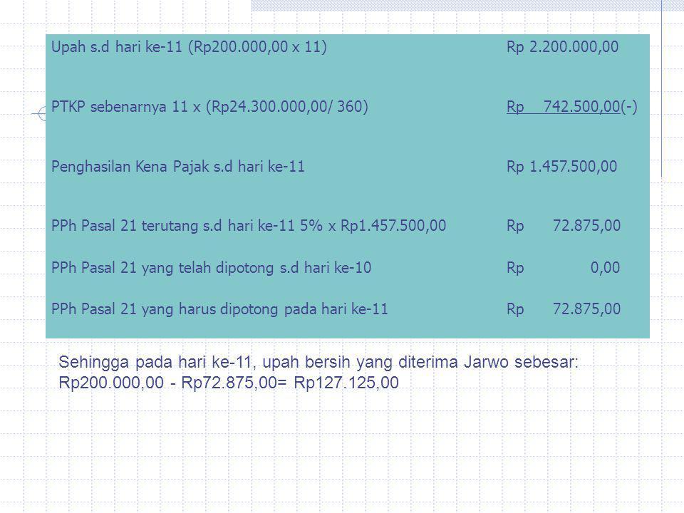 Upah s.d hari ke-11 (Rp200.000,00 x 11) Rp 2.200.000,00. PTKP sebenarnya 11 x (Rp24.300.000,00/ 360)
