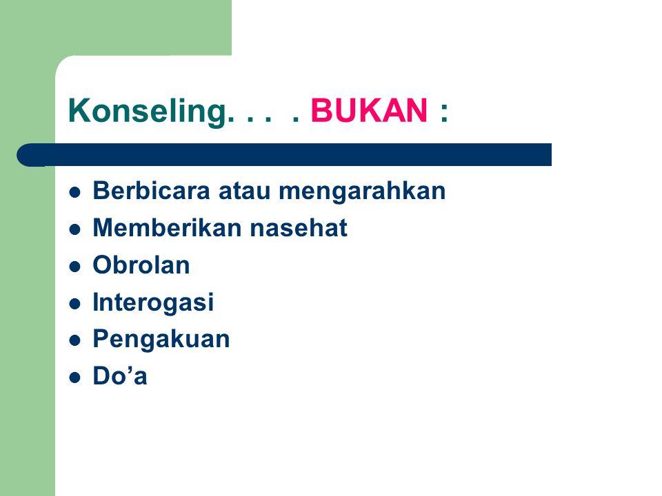Konseling. . . . BUKAN : Berbicara atau mengarahkan Memberikan nasehat