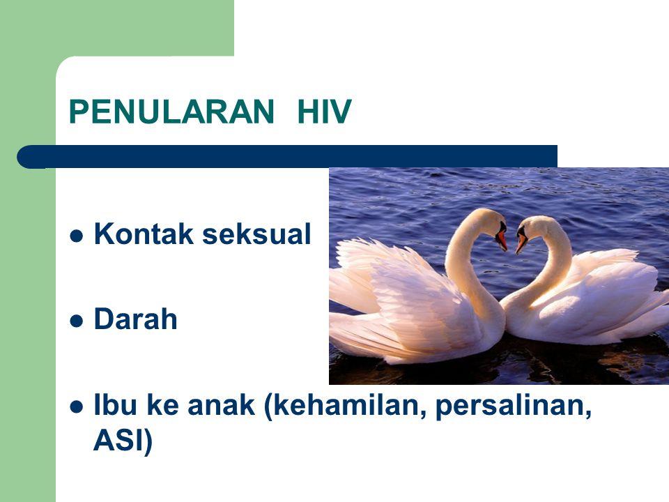 PENULARAN HIV Kontak seksual Darah
