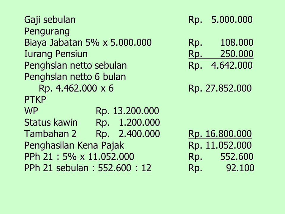 Gaji sebulan Rp. 5.000.000 Pengurang. Biaya Jabatan 5% x 5.000.000 Rp. 108.000. Iurang Pensiun Rp. 250.000.