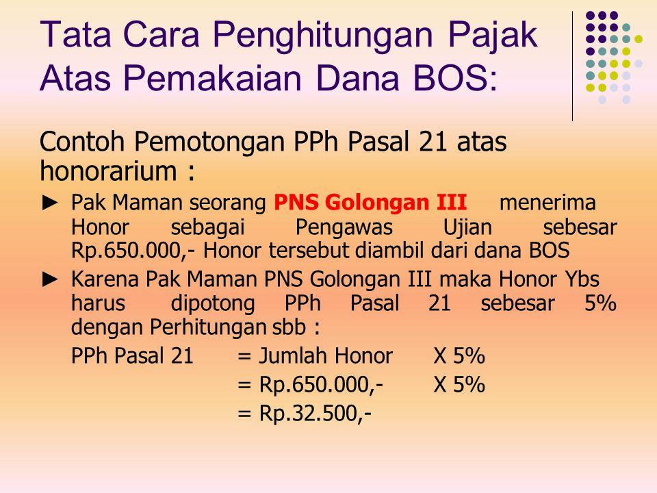 Tata Cara Penghitungan Pajak Atas Pemakaian Dana BOS: