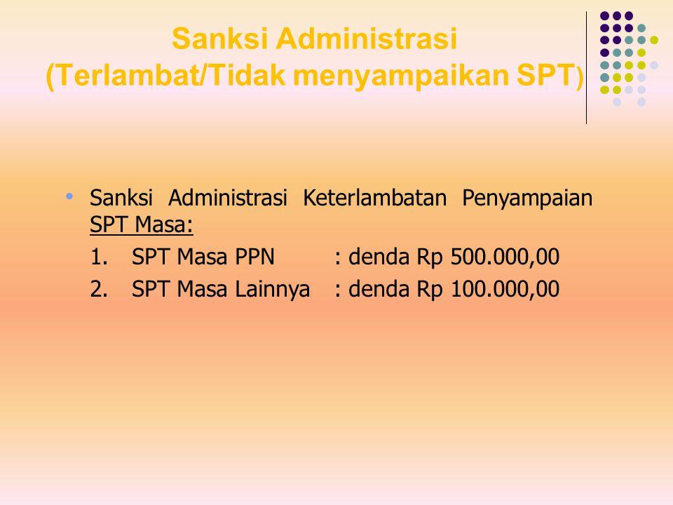 Sanksi Administrasi (Terlambat/Tidak menyampaikan SPT)