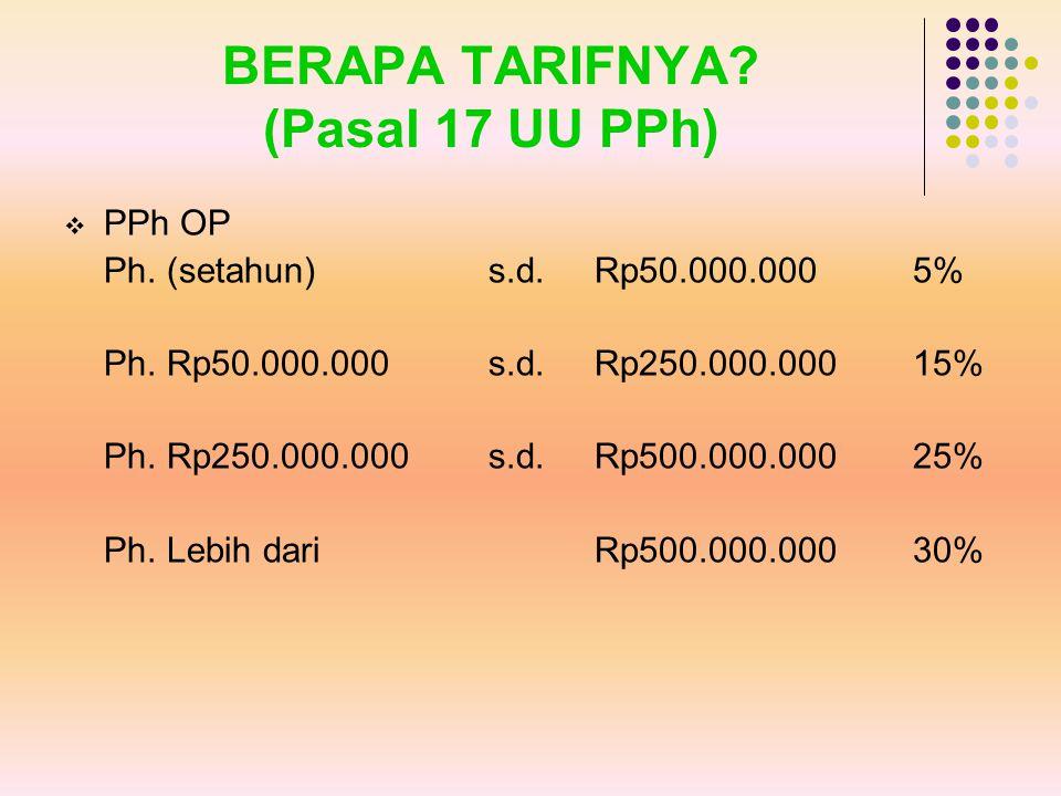 BERAPA TARIFNYA (Pasal 17 UU PPh)