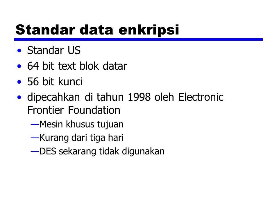 Standar data enkripsi Standar US 64 bit text blok datar 56 bit kunci