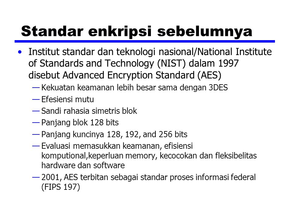 Standar enkripsi sebelumnya
