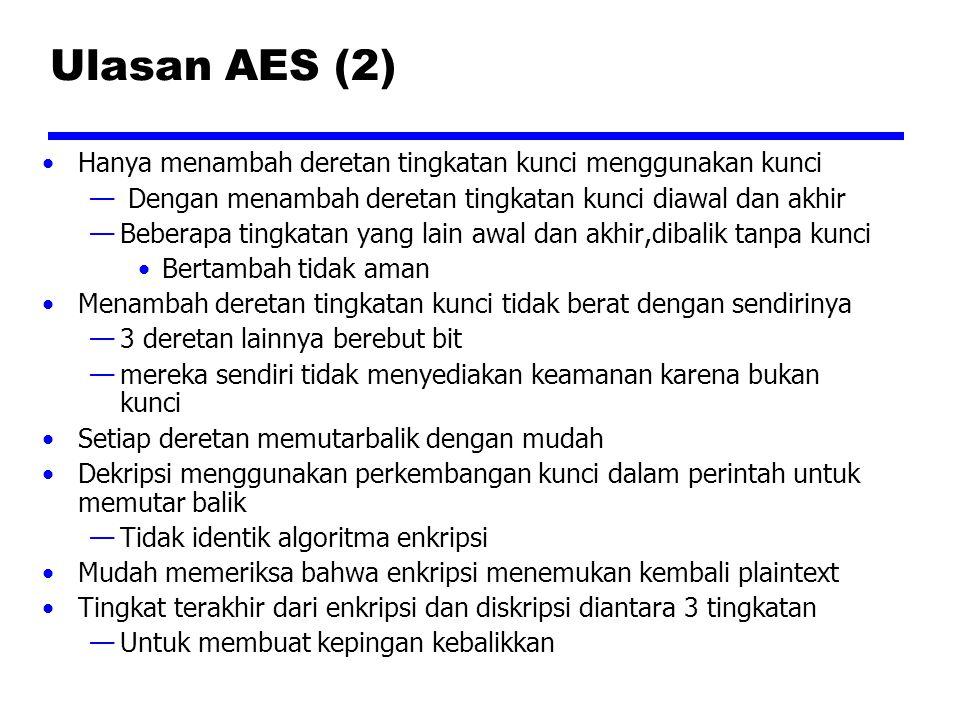 Ulasan AES (2) Hanya menambah deretan tingkatan kunci menggunakan kunci. Dengan menambah deretan tingkatan kunci diawal dan akhir.