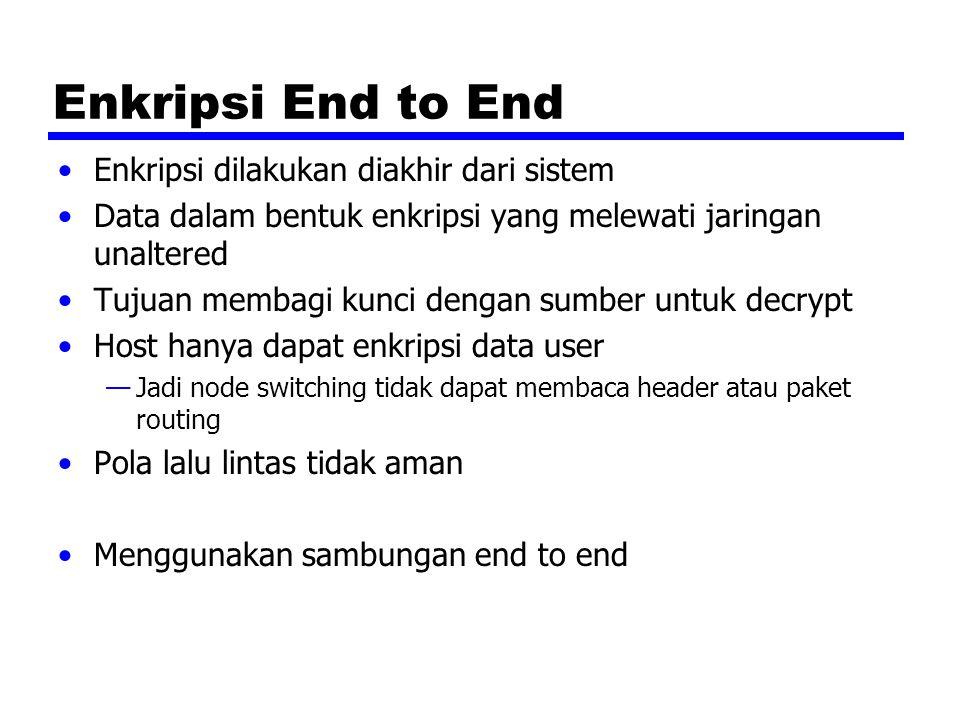 Enkripsi End to End Enkripsi dilakukan diakhir dari sistem
