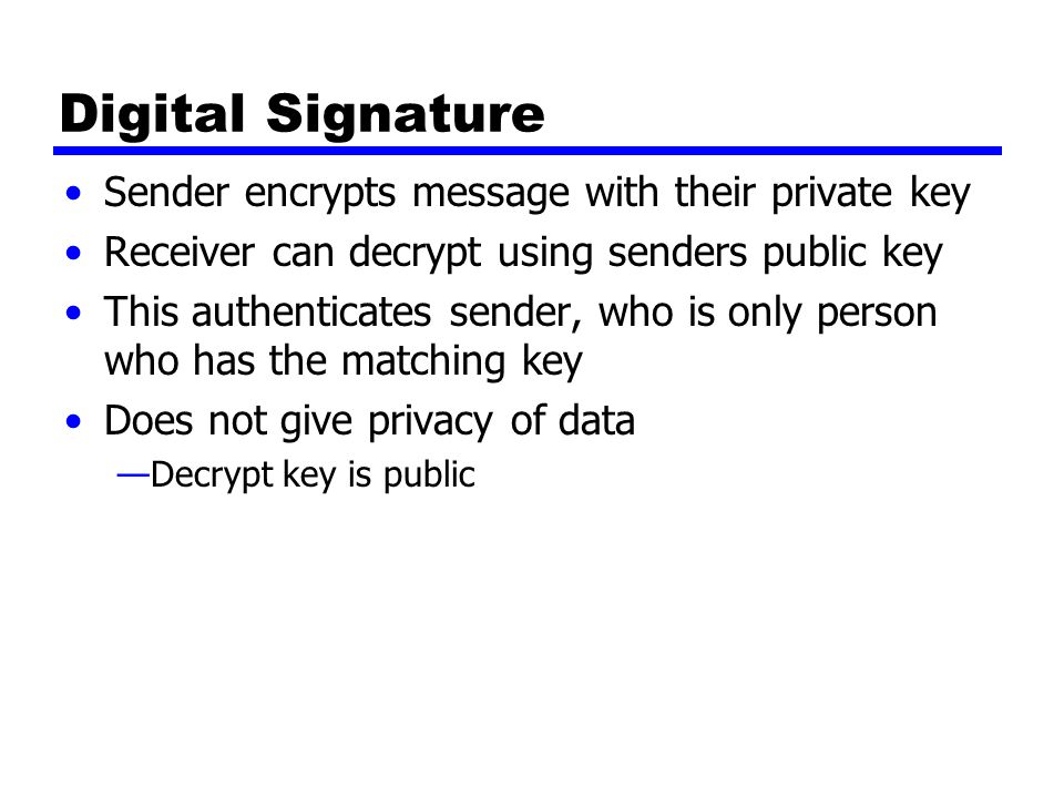 Digital Signature Sender encrypts message with their private key