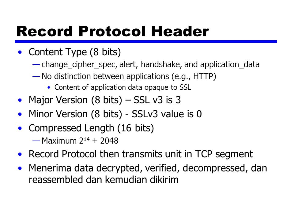 Record Protocol Header